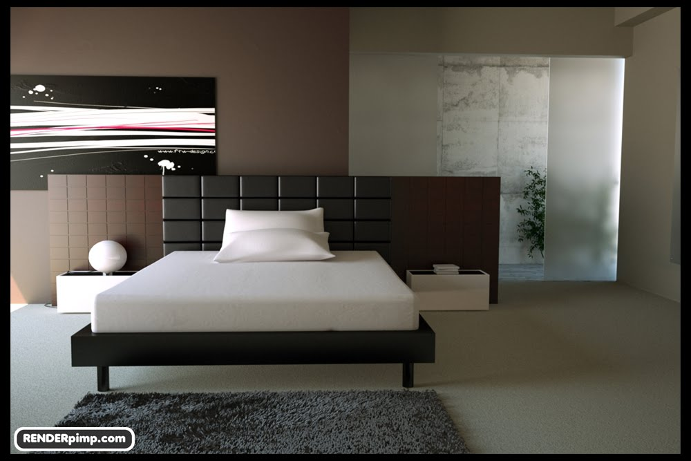 free scene modern bedroom for ciema 4d and also saved as obj